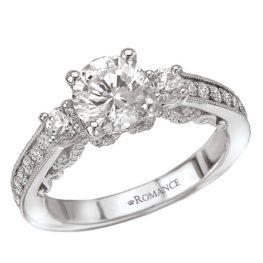 Romance White Gold 3-Stone Round Diamond Engagement Ring