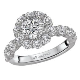 Romance Halo Semi-Mount Diamond Engagement Ring