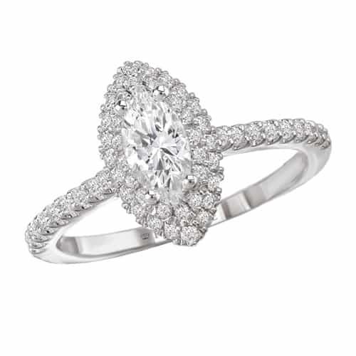 Romance Marquise Halo Diamond Engagement Ring