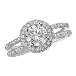 Romance Split Shank Halo Diamond Engagement Ring