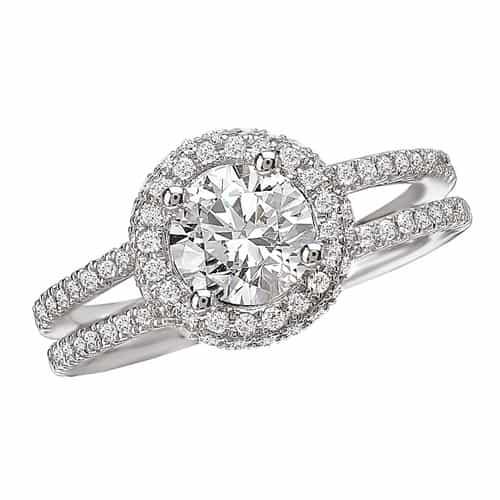 Romance Split Shank Halo Diamond Engagement Ring