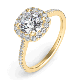 S. Kashi Gold Cushion-Cut Halo Diamond Engagement Ring.