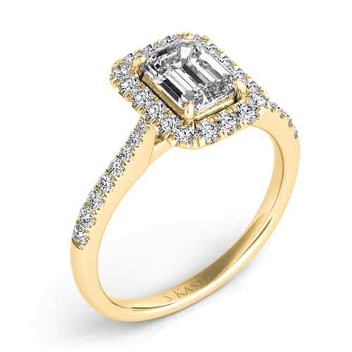 S. Kashi 14K Yellow Emerald Cut Diamond Engagement Ring.