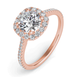 S. Kashi Rose Gold Cushion-Cut Halo Diamond Engagement Ring.