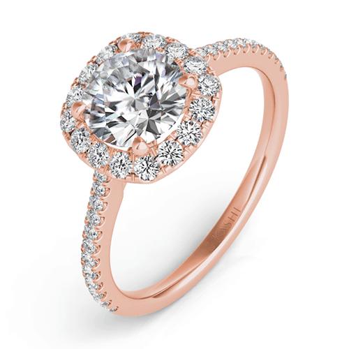 S. Kashi Rose Gold Cushion-Cut Halo Diamond Engagement Ring.