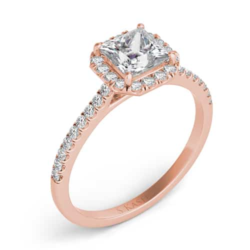 S. Kashi 14K Rose Gold Radiant Cut Diamond Engagement Ring.