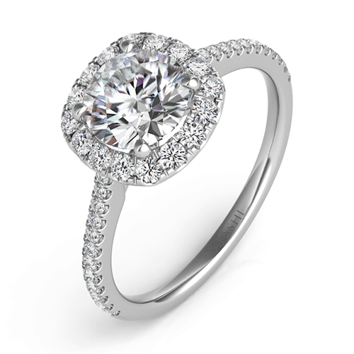 S. Kashi White Gold Cushion-Cut Halo Diamond Engagement Ring.