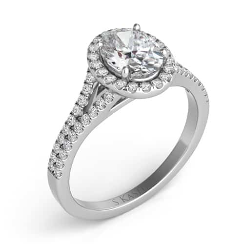 S. Kashi 14K White Gold Oval Cut Halo Diamond Engagement Ring.