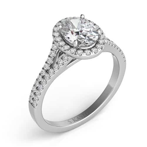 S. Kashi 14K White Gold Oval Cut Halo Diamond Engagement Ring.