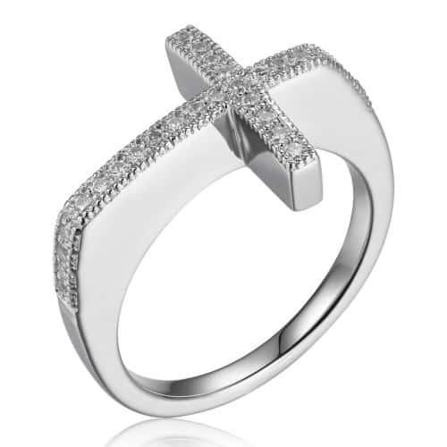 Elle Bead Set Sideways Cross Ring