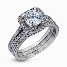 Simon G 18k White Gold Halo Diamond Engagement Ring Wedding Set.