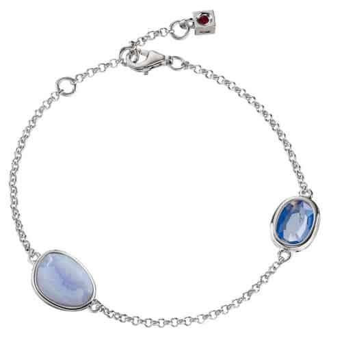 Elle Two Blue Stone Bezel Bracelet
